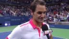 Video «Tennis: Federer im Platz-Interview (englisch)» abspielen
