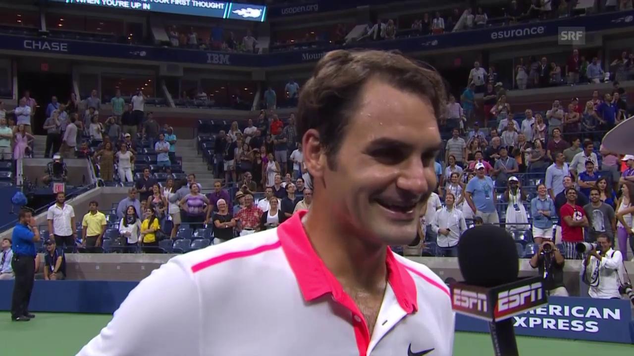 Tennis: Us Open 2015, Achtelfinal, Federer - Isner, Federers Glückwünsche nach erfolgreichem Heiratsantrag