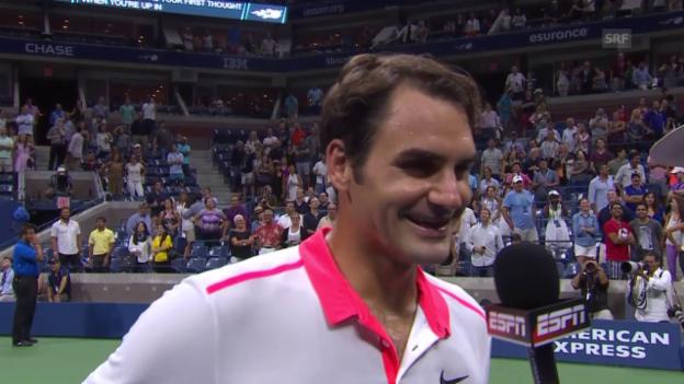 Video «Tennis: Us Open 2015, Achtelfinal, Federer - Isner, Federers Glückwünsche nach erfolgreichem Heiratsantrag» abspielen