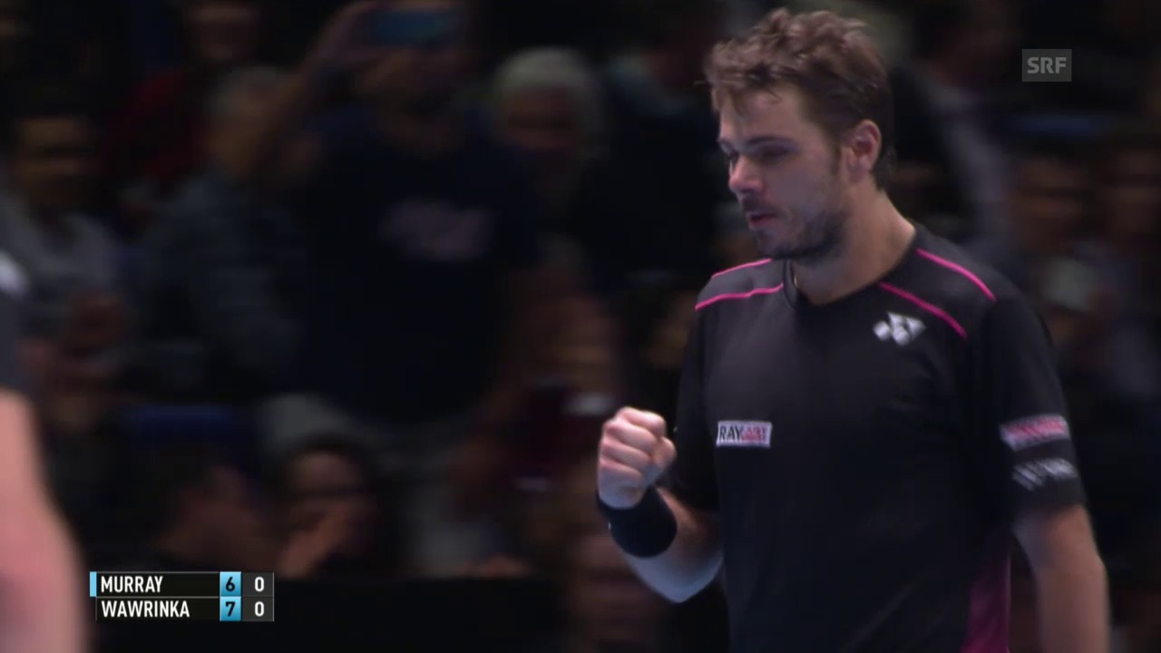 Tennis: Wawrinka - Murray, Satzball 1:0 Wawrinka