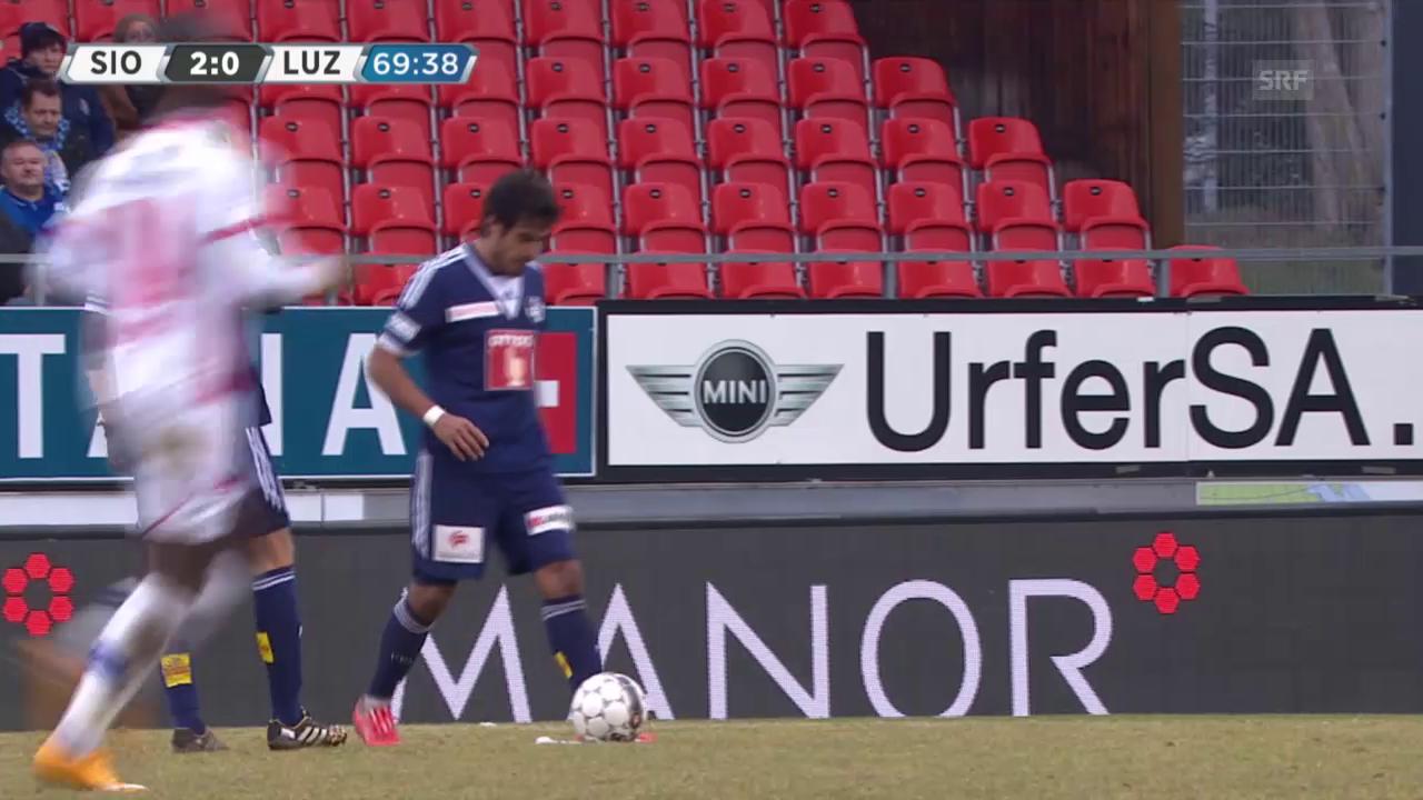 Fussball: SL, Sion - Luzern, Freistosstreffer von Lezcano zum 1:2