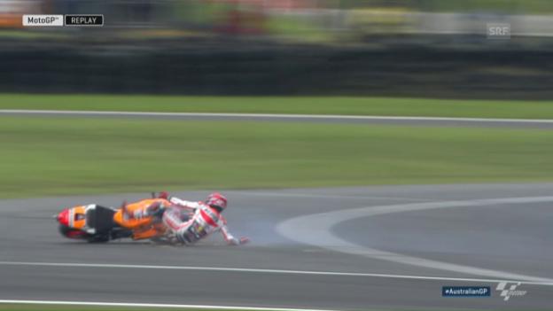 Video «Marc Marquez stürzt im MotoGP spektakulär» abspielen