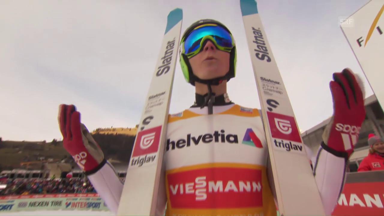 144 m: Domen Prevc springt in Engelberg Schanzenrekord