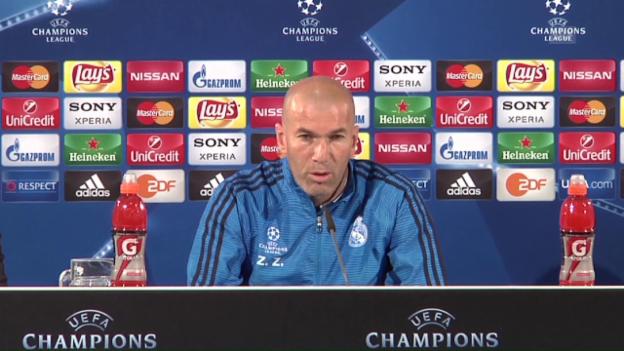 Video «Real-Trainer Zinedine Zidane vor dem CL-Duell mit Wolfsburg» abspielen
