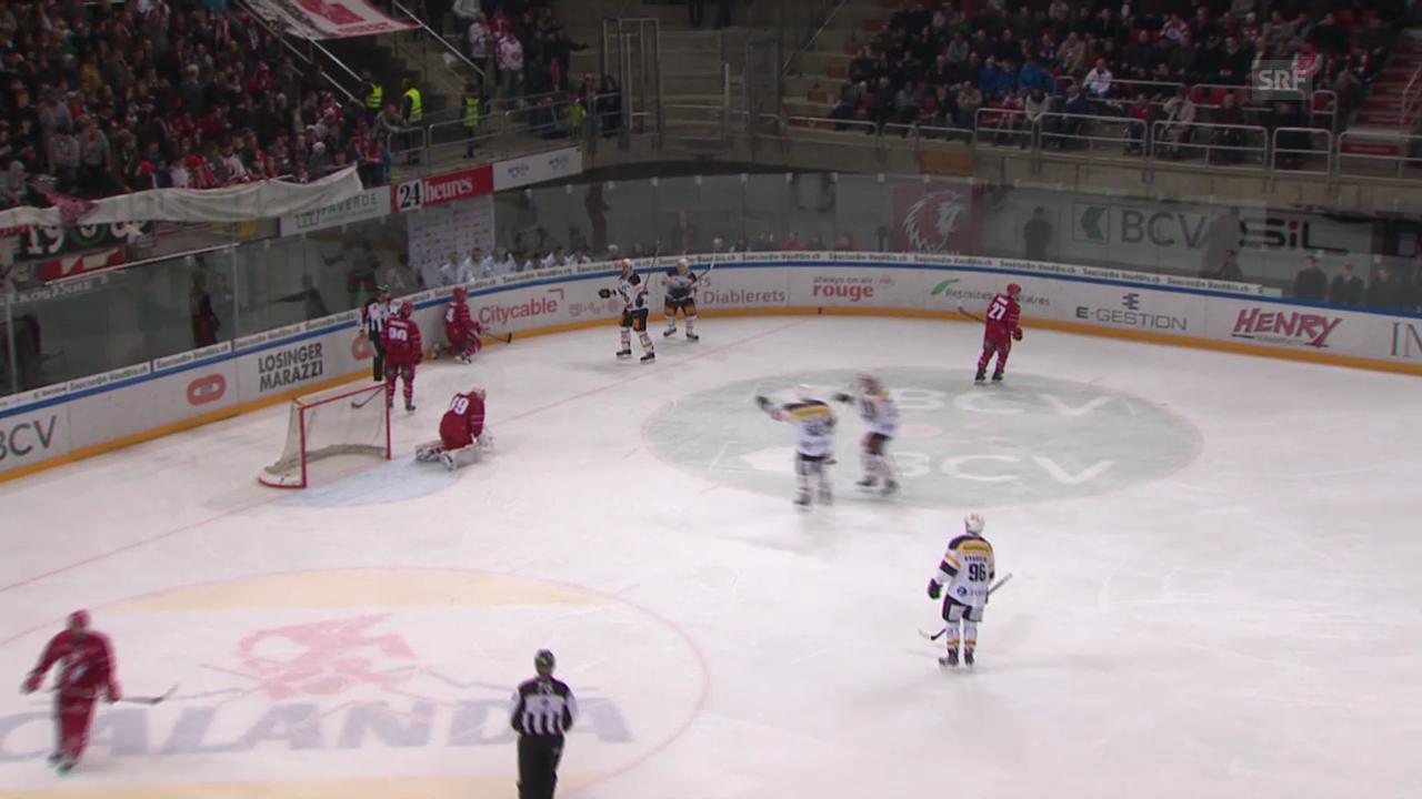 Eishockey: Brady Murrays letztes Tor für Lugano am 13.12.2014 gegen Lausanne