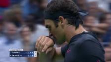Video «Trotz 4 Satzbällen: So gab Federer den 3. Umgang ab» abspielen