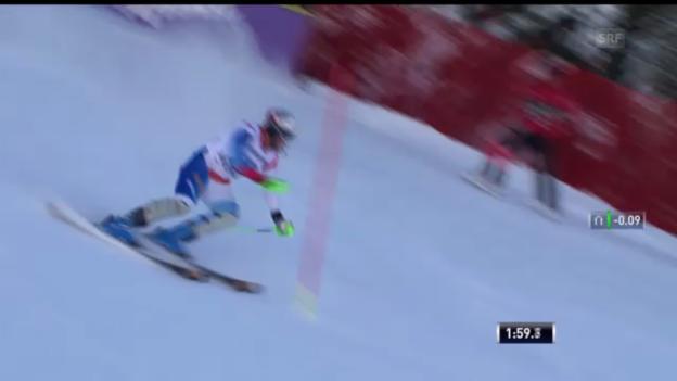Video «Ski alpin: Der Superkombi-Slalomlauf von Silvan Zurbriggen («sportlive»)» abspielen