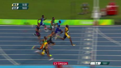 Video «Bolt gewinnt Gold über 100 m» abspielen