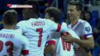 Video «Fussball: Studiogast Fabian Schär, Auftritte mit der Nati» abspielen