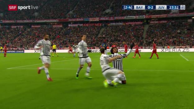 Video «Cuadrado erzielt das 2:0 für Juventus gegen Bayern» abspielen
