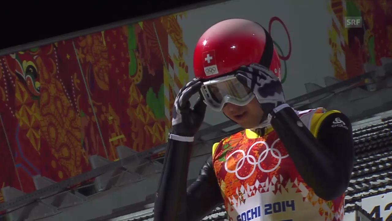 Skispringen: Grossschanze Männer, 2. Sprung Simon Ammann (sotschi direkt, 15.02.2014)