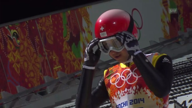 Video «Skispringen: Grossschanze Männer, 2. Sprung Simon Ammann (sotschi direkt, 15.02.2014)» abspielen