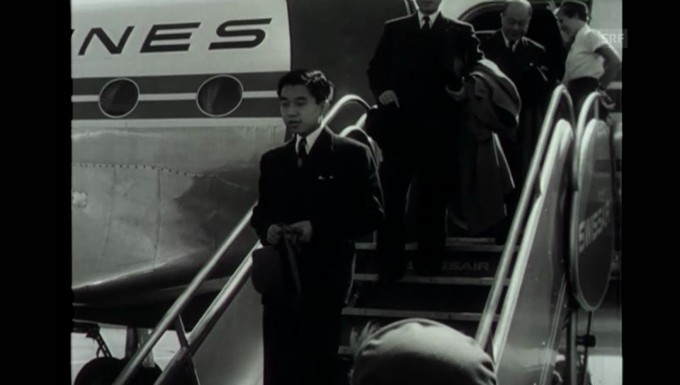 Damaliger Thronfolger Akihito besucht die Schweiz (Filmwochenschau, 1953)