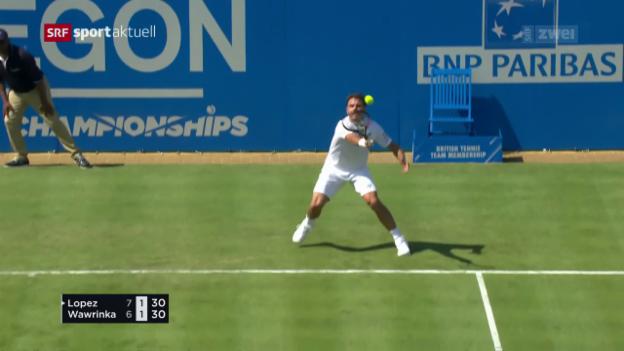 Video «Wawrinka zieht gegen Lopez den Kürzeren» abspielen