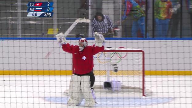 Video «Eishockey, Schelling-Paraden gegen Russland (sotschi direkt, 15.02.14)» abspielen