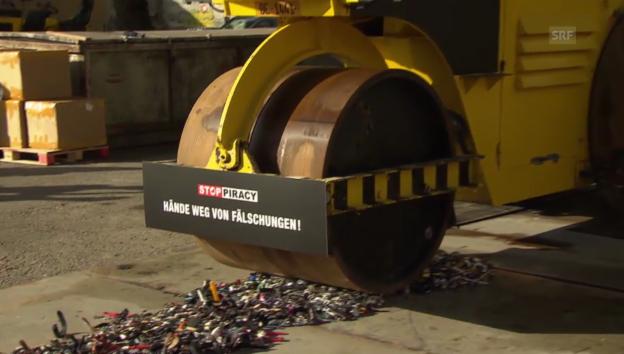 Video «Gefälschte Produkte werden zerstört (unkomm.)» abspielen