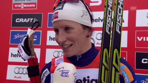 Video «Langlauf: Tour de Ski, Verfolgung 10km, Interview Marit Björgen» abspielen
