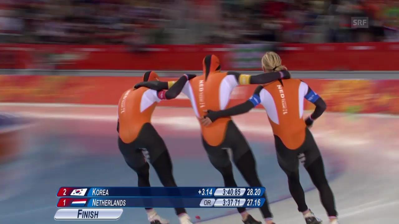 Eisschnellauf: Teamverfolgung, Doppelter Triumph der Niederlande (22.02.2014)