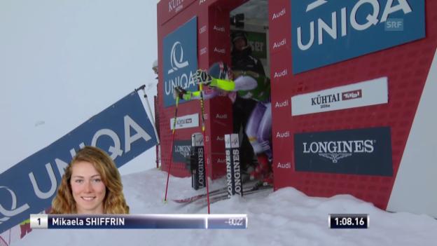 Video «Ski Alpin: Weltcup Kühtai, Riesenslalom, 2. Mikaela Shiffrin» abspielen