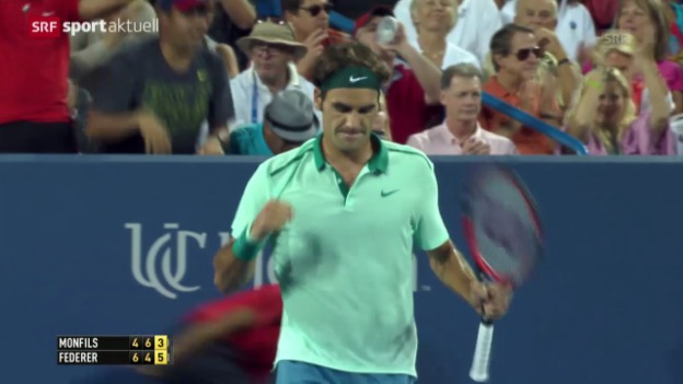 Video «Tennis: Roger Federer besiegt Gael Monfils» abspielen