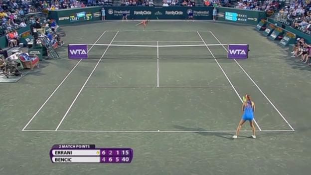 Video «Tennis: WTA-Turnier in Charleston, Bencic - Errani, Satz- und Matchball (05.04.2014)» abspielen