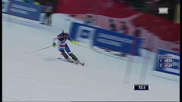 Video «Slalom Zagreb: 1. Lauf Holdener» abspielen