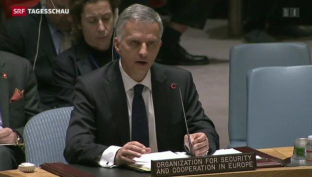 Video «Burkhalter präsentiert dem UNO-Sicherheitsrat einen Lösungsvorschlag zur Ukraine» abspielen
