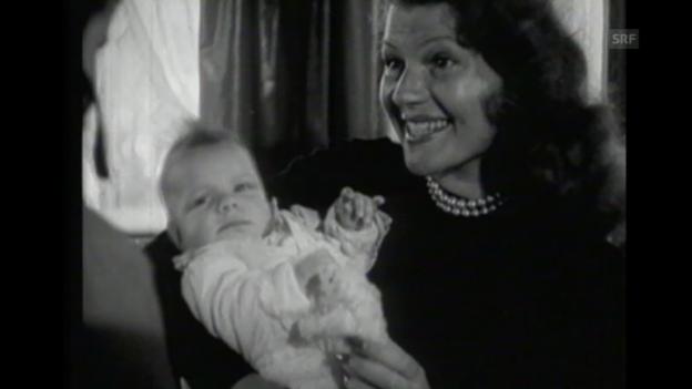 Video ««Rita Hayworth gebärt in der Schweiz», Filmwochenschau, 24.3.1950» abspielen