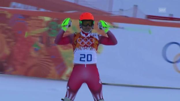 Video «Ski: Kombinations-Slalom, Fahrt von Sandro Viletta (sotschi direkt, 14.02.14)» abspielen