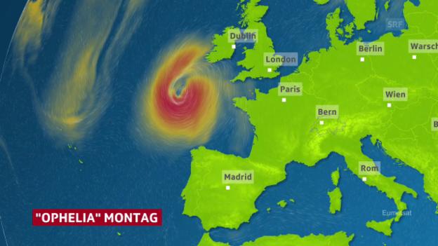 Video «Prognose für Hurrikan «Ophelia»» abspielen