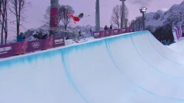 Video «Ski Freestyle: Halfpipe Frauen, 1. Qualifikations-Run von Virginie Faivre (sotschi direkt, 20.02.2014)» abspielen