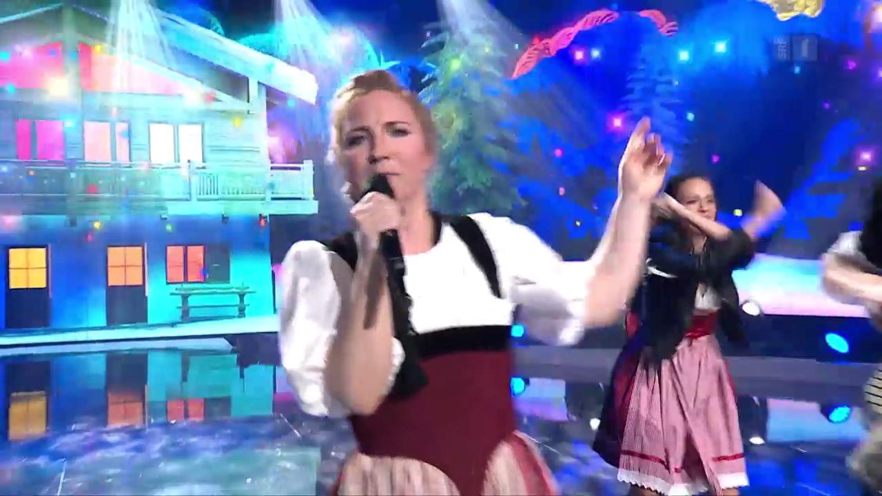 Miss Helvetia mit «Ängeli im Schnee»