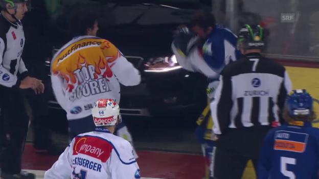 Video «Eishockey: Playoff-Viertelfinals, Prügelei Wick vs Tschantré» abspielen