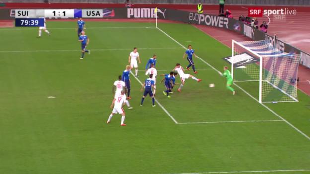 Video «Fussball: Testspiel Schweiz-USA, Tor Stocker» abspielen