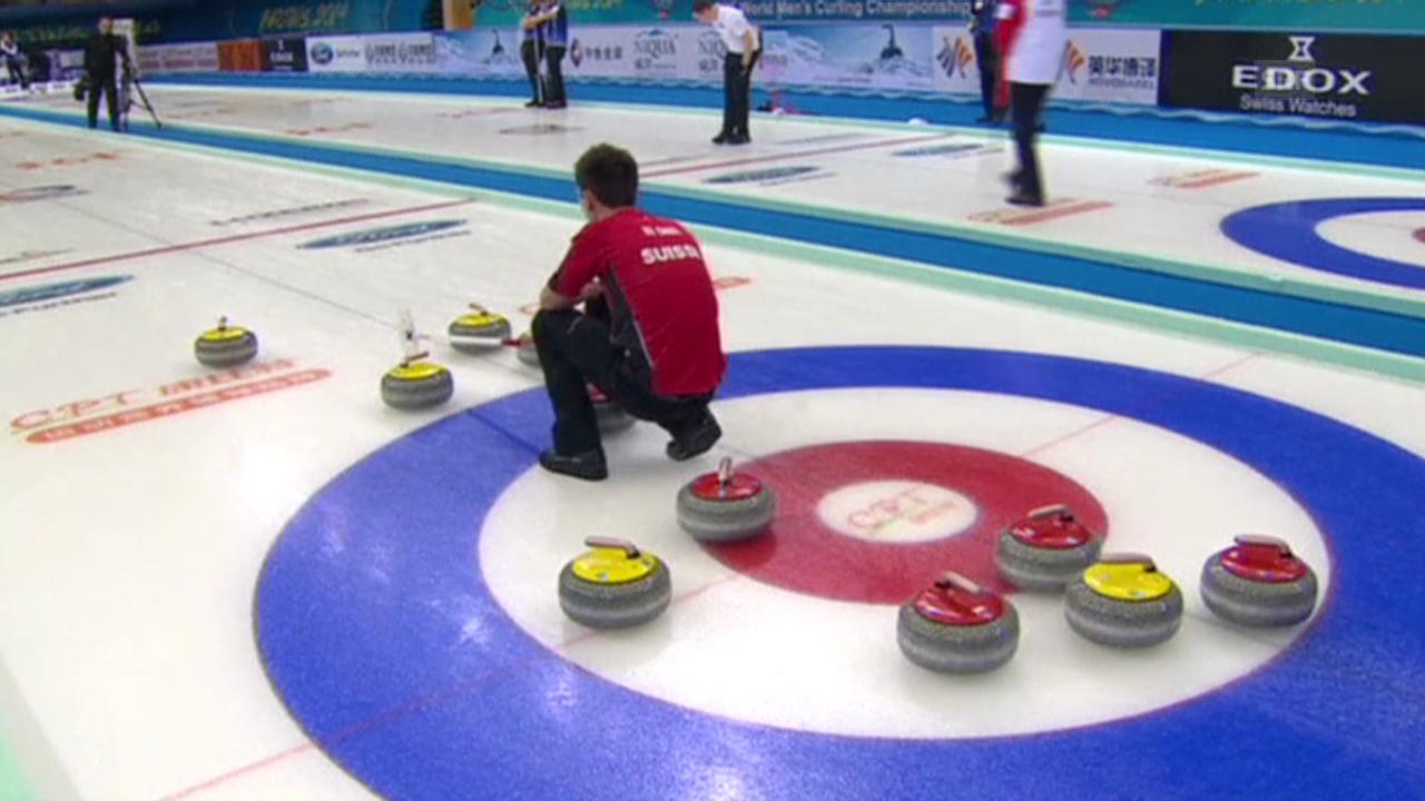 Curling: WM Männer in Peking, Round Robin, Schweiz-USA, entscheidende Steine