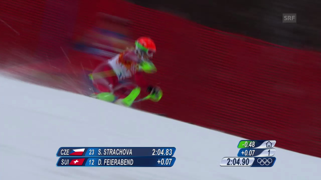 Ski: Kombi-Slalom Frauen, Fahrt Denise Feierabend (sotschi direkt, 10.2.2014)