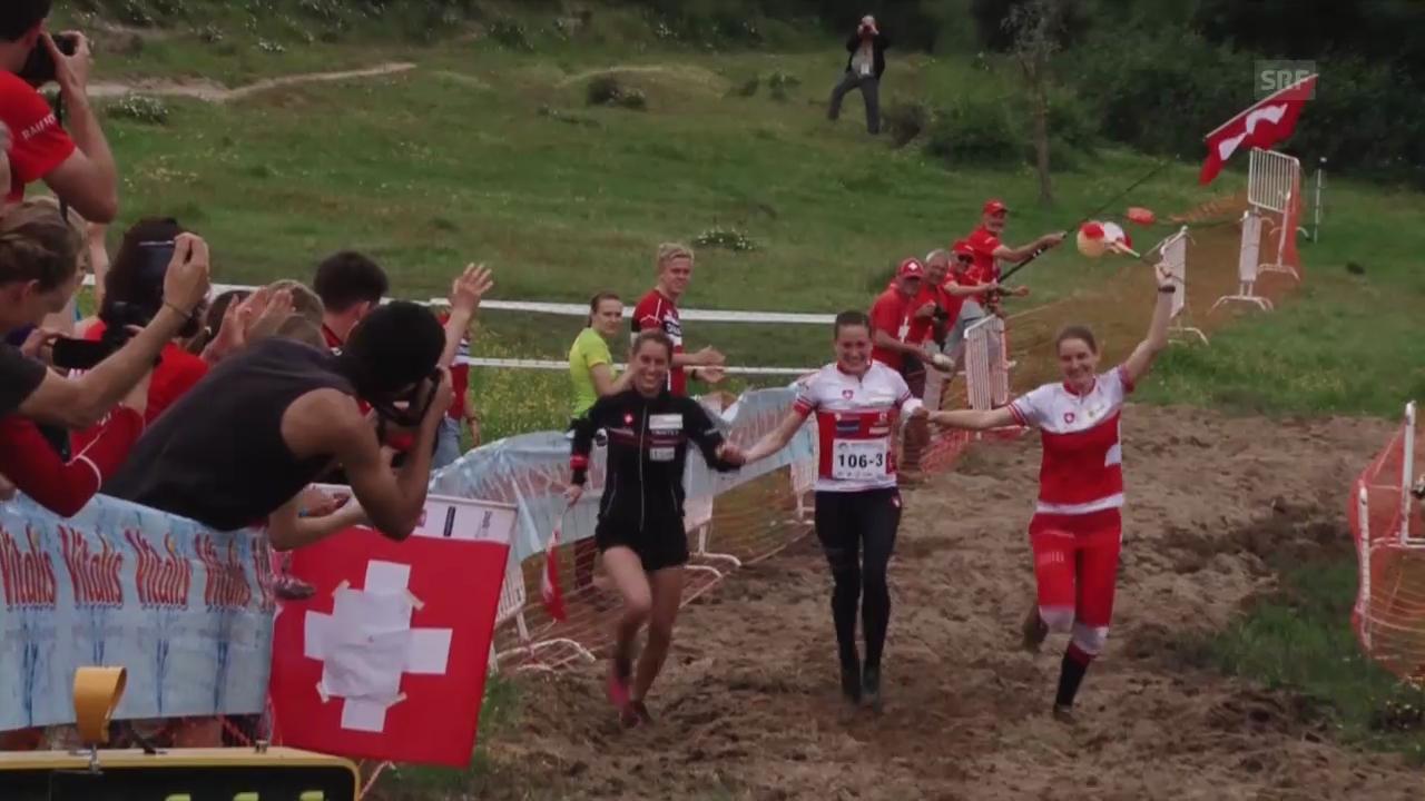 OL-EM: Staffel Frauen, Zieleinlauf Schweizer Team