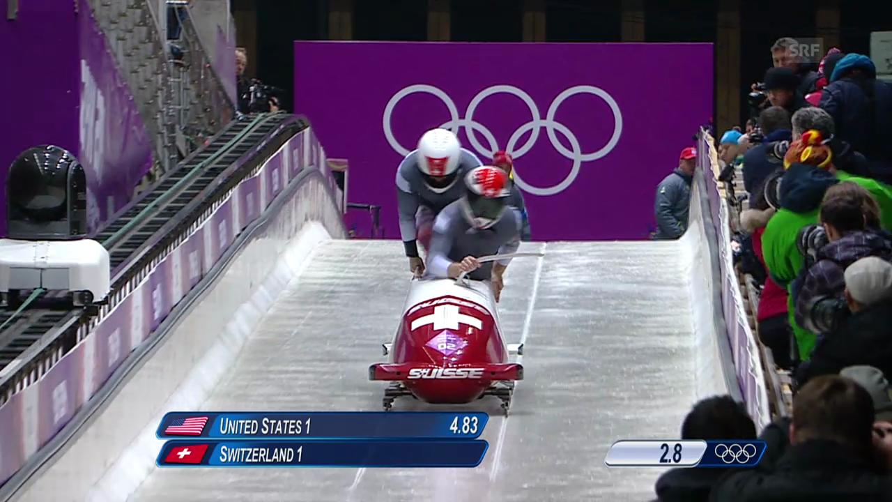 Bob: Zweier Männer, 1. Lauf von Hefti/Baumann (sotschi direkt, 16.02.2014)