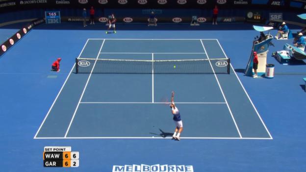 Video «Tennis: Australian Open. Wawrinka-Garcia-Lopez, 1. Satz» abspielen