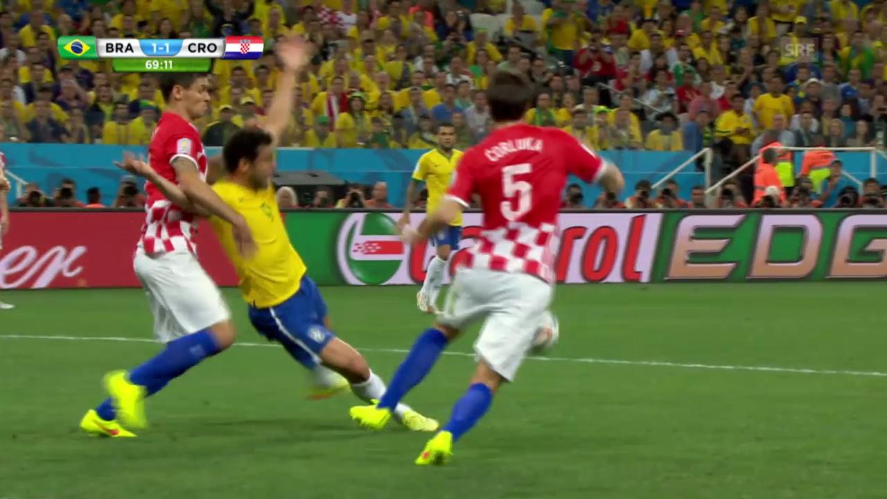 Fussball: WM, Brasilien - Kroatien, Penalty zum 0:1
