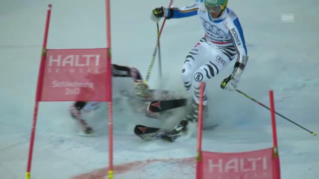 Ski-WM: Teamwettbewerb, Zusammenstoss Zubcic-Neureuther