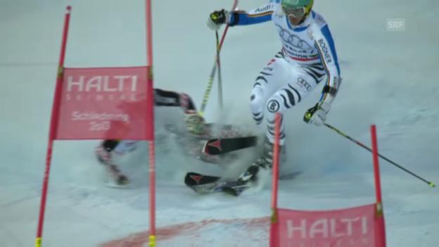 Video «Ski-WM: Teamwettbewerb, Zusammenstoss Zubcic-Neureuther» abspielen