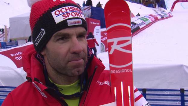 Video «Ski: WM, Didier Defago Interview nach 1. Training Abfahrt» abspielen