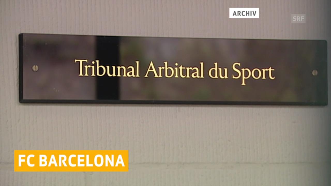 Der FC Barcelona darf bis im Januar 2016 keine Transfers tätigen. Diesen Entscheid des Weltfussballverbands FIFA bestätigte der Internationale Sportgerichtshof TAS am Dienstag in Lausanne.