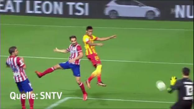Video «Fussball: Die Tore von Villa und Neymar im Supercup» abspielen