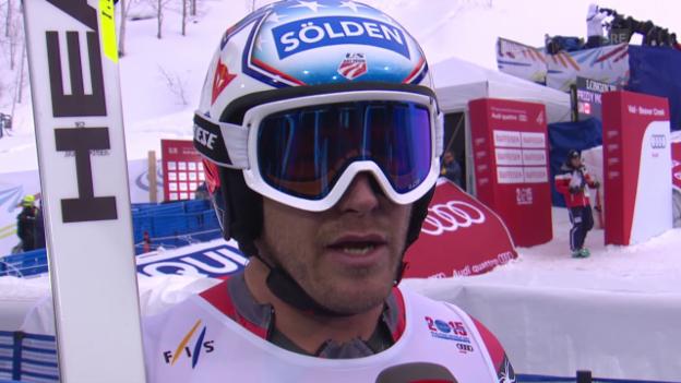 Video «Ski: WM, Bode Miller Interview nach 1. Training Abfahrt» abspielen