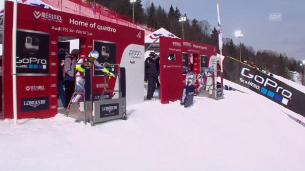 Video «Ski: Team-Event Méribel, Viertelfinal Schweiz - Deutschland, Duell Holdener - Hösl» abspielen