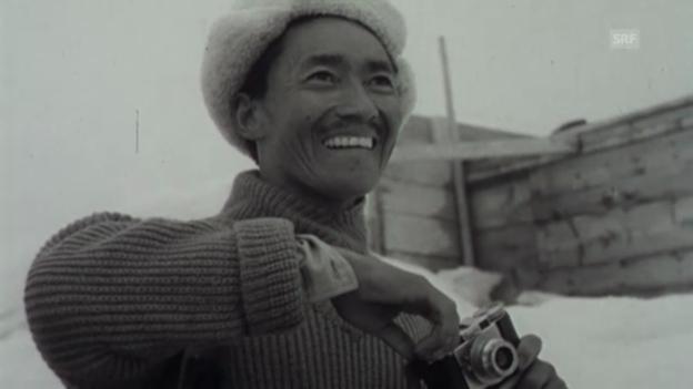 Video «Tenzing Norgay in der Schweiz, Filmwochenschau, 1953» abspielen