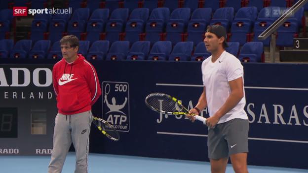 Video «Tennis: Nadal vor den Swiss Indoors Basel» abspielen