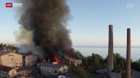 Video «Feuer zerstört mehrere Hallen auf Industrieareal» abspielen
